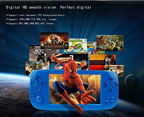 Handheld Game Console, PAP-KIII Retro Game Console 650 Classic Games 4.3 Inch TFT Screen Portable Game Console, Support GBA/SEGA/SFC/NEOGEO/NES - Blue