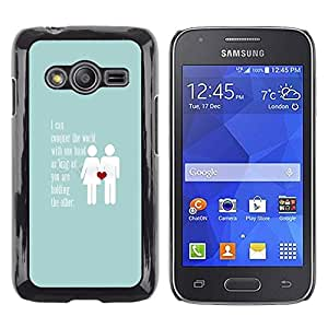 Be Good Phone Accessory // Dura Cáscara cubierta Protectora Caso Carcasa Funda de Protección para Samsung Galaxy Ace 4 G313 SM-G313F // love baby blue couple heart inspiring