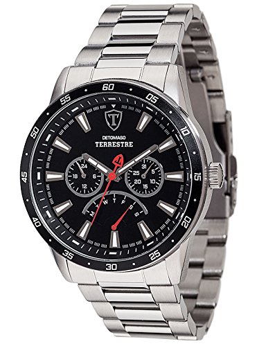 DETOMASO Terrestre Multifunctional Mens Wrist Watch Silver Stainless Steel Casing and Strap, Black Dial, Date, Week and weekday display