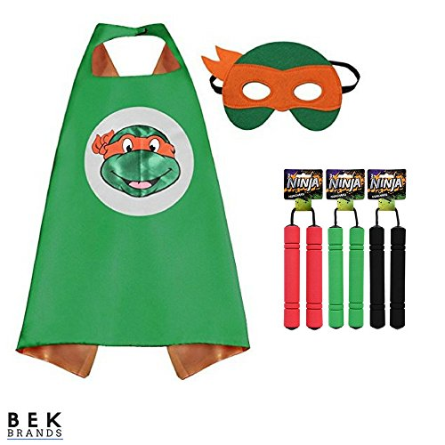 Bek Brands Children's Superhero Costume Cape Mask Sets (TMNT - Michelangelo w/Nunchucks (Colors Vary)) ()