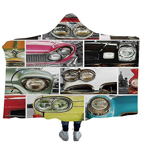 (ISMYPRINT Hoodie Wearable Blanket 1960s Decorations Super Soft Warm Comfy Large Fleece Motor Scooter Doodle in Nice Sixties Style Driving Motorcycle Urban Cartoon Clipart Decorative (Kids 50