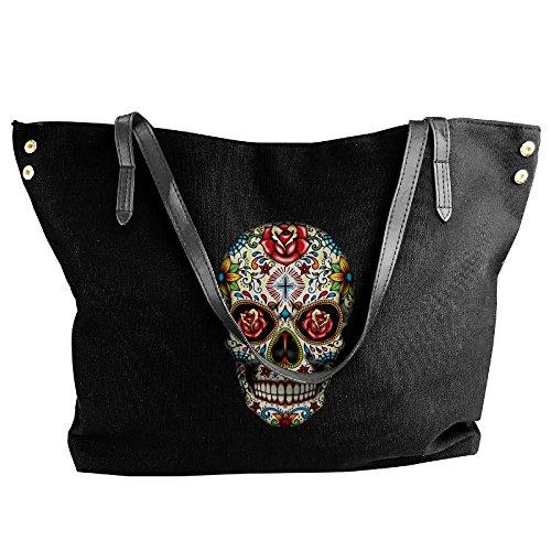 Red Roses Bags Black Women's Shoulder Canvas Skull Messenger Large Handbag Tote qzYgFw0