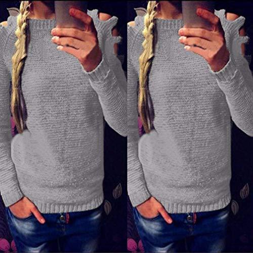 Gris paules Pullover Nues Haut Sweater Loisir Longues Rond Fit Elgante Tops Tricot Pullover Automne Manches Manche Slim Printemps Mode Vintage Uni Col Femme Fille Vtements WSFxpq4Y
