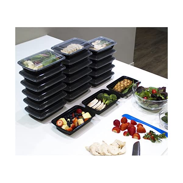 [20 Pack] 32 Oz. Meal Prep Containers BPA Free Plastic Reusable Food Storage Container Microwave & Dishwasher Safe Portion Control Containers & Bento Box Lunch Box 51PVb1aNtsL