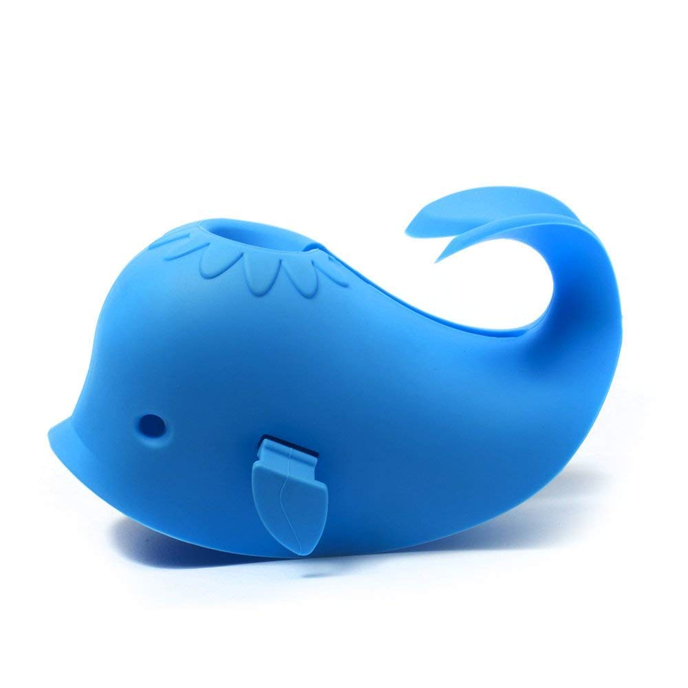 [Upgraded] BUENAVO Bath Spout Cover Silicone Soft Bathtub Faucet Extender Protector for Kid, Cute Blue Whale,Universal Fit