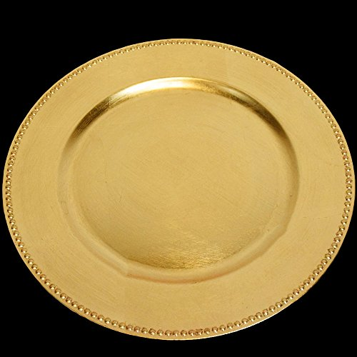 (SPRINGROSE 25 Gold Charger Plates | Buy in Bulk and Save | The Perfect Decoration for Your Tables | Perfect for Weddings, Party, Banquets, Anniversary Dinners, Christmas, Barbeques, Bridal Shower)