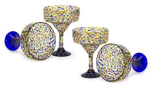 (MEXART Artisan Crafted Hand Blown Confetti Multicolor Margarita Glass Recycled Glass, 16 oz. 'Classic' (Set of)