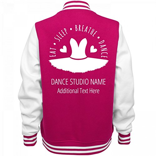 Customized Girl Eat Sleep Dance Custom Studio: Ladies Fleece Letterman Varsity Jacket (Customized Fleece Jackets)