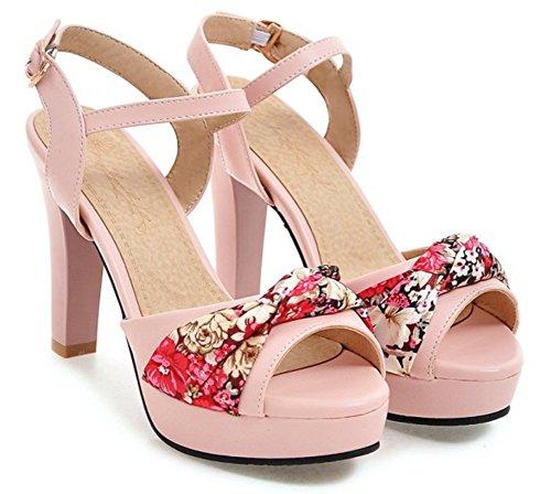 Rose Fleurs Sandales Haute Imprimé Femme Plateforme Bal Sexy Aisun E8qOUx