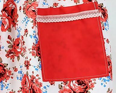 Fletion grembiule principessa floreale vintage impermeabile Grembiule con tasche da donna,cameriera,chef,da usare in cucina casa,ristorante,BBQ,giardinaggio