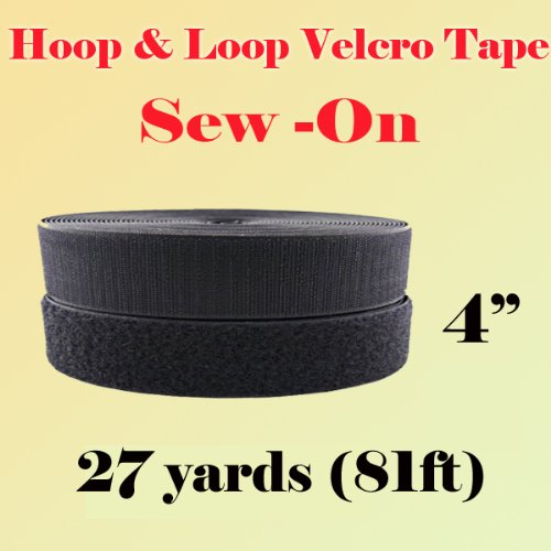 4'' (Inch) Width Black or White Sew on Hook & Loop - Premium Grade Non-adhesive Sew-on Style Sold Includes Hook and Loop Both Strips Interlocking Tape Sold By 5, 10, 27 Yards (Black - 27 Yards)