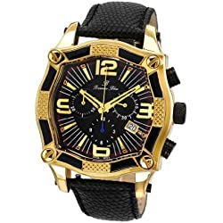 Porsamo Bleu Sao Paulo Genuine Leather Gold Tone & Black Men's Watch 022BSPL