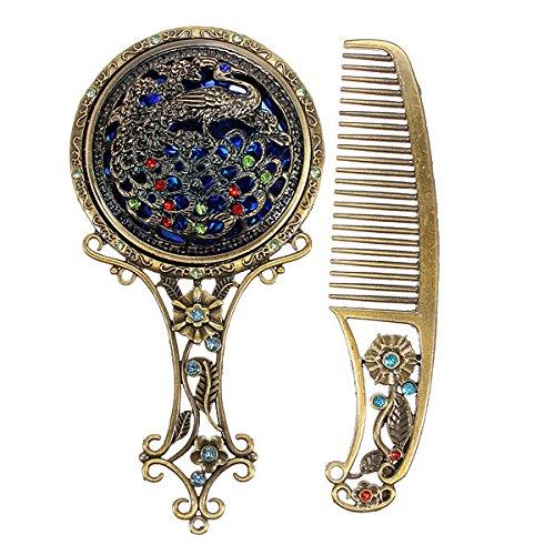 Glamorous Vintage Antiqued Mini Copper Phoenix Mirror with Comb Set