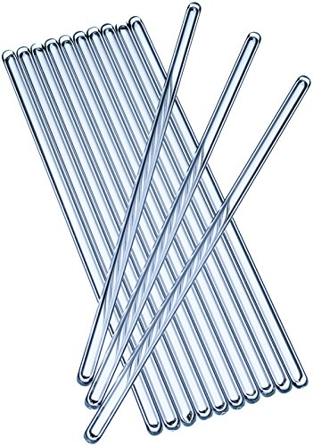 Glass Stirring Sticks Pack of 10 Multifunctional Crystal Clear Coffee Stirrers - Anti-Scratch & Nonstick Mixing Stir Rods for Drinks, Cold & Hot Beverages, Cocktails & Lab Experiments