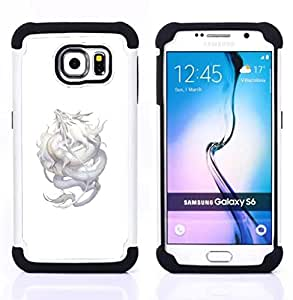 - DRAGON SILVER FLYING MYTHICAL CREATURE NATURE - - Doble capa caja de la armadura Defender FOR Samsung Galaxy S6 G9200 RetroCandy