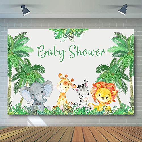 COMOPHOTO Animals Baby Shower Photo Background Junlge Safari Wild One Birthday Party Backdrop for Decoration Supplies 7x5ft Fabric -