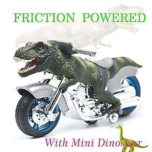 "BigNoseDeer dinosaur motorcycle toys - animal friction motorcycles toys dinosaurs Tyrannosaurus T Rex 7.1"" x 4"""