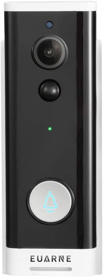 EUARNE WiFi Video Doorbell Wireless Door Security Battery Camera, PIR Motion Detection, Night Vision & Two-Way Audio, Only Works with 2.4GHz WiFi