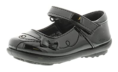 b5a282fa3ef1 Us Brass Younger Girls Childrens Black Patent Touch Fastening Shoes - Black  - UK Size