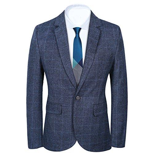 CCXO Men's Slim Fit Suits Casual One Button Flap Pockets Solid Blazer Jacket (XL, Dark Blue) by CCXO
