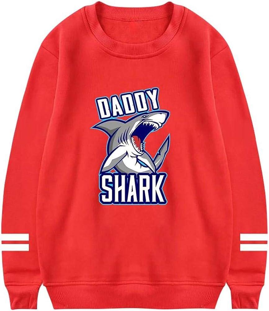 Mens Daddy Shark Doo Doo Doo Crewneck Athletic Sweatshirt Cotton Pullover