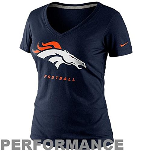 Nike Denver Broncos Women's Size Medium Cap Sleeve Football Shirt - Dri Fit Navy Blue