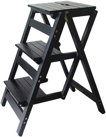 KYSZD-Step Stool Taburete Escalera Plegable de Madera, Escalera pequeña de 3 escalones, Taburete Plegable, Escalera portátil, Taburete de Escalera, para casa, jardín, Biblioteca, Cocina: Amazon.es: Hogar