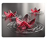 Natural Rubber Gaming Mousepad Zen Background Three Abstract Pink Lotus Flowers with Copy Space A Computer generated high Resolution