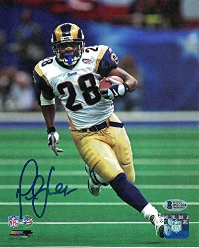 Signed Marshall Faulk Photograph - Los Angeles 8x10 SB XXXVI BAS 22748 PF - Beckett Authentication - Autographed NFL Photos