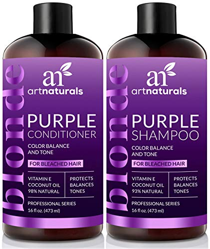 ArtNaturals Purple Shampoo and Conditioner Set – (2 x 16 Fl Oz / 473ml) – Protects, Balances and Tones – Bleached, Color Treated, Silver and Blonde Hair