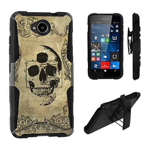 Lumia 650 Case, DuroCase Hybrid Dual Layer Combat Armor Style Kickstand Case w/ Belt Clip Holster Combo for Microsoft Lumia 650 (Released in 2016) - (Three Eyes Skull)