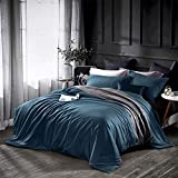 Dazzfond Duvet Cover King, Egyptian Cotton 3 Piece Luxury Bedding Set- Zipper Closure & Corner Ties, Solid Color Breathable Washable Comforter Protector (Peacock Blue),