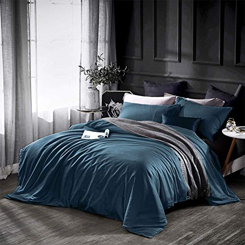 - Dazzfond Duvet Cover King, Egyptian Cotton 3 Piece Luxury Bedding Set- Zipper Closure & Corner Ties, Solid Color Breathable Washable Comforter Protector (Peacock Blue),