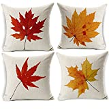 Image of Maple Leaves Throw Pillow Covers - Wonder4 Fall Decor Colorful Maple Leaves Cushion Cover Decor Autumn Leaf Pillow Cases Cotton Linen for Home Sofa Bedding 18x18 inches Set of 4