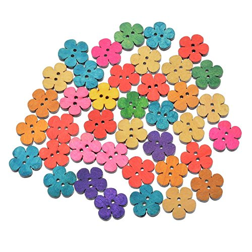 Amazon.com: 50PCs Mixed Floral Buttons Craft Scrapbooking ...