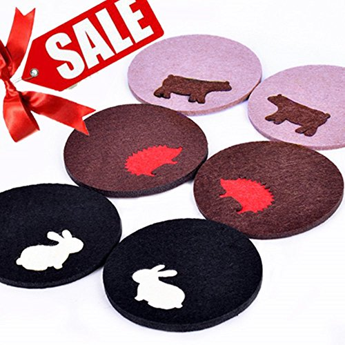 LIQUIDATING SALE - Detachable Felt Coasters Set of 6 - Cute Animal Design ( Easter Bunny / White Rabbit, Polar Bear, Hedgepig ) - A Drink Absorbent That Protects Your Table And Makes You Smile