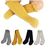 Toptim 4 Pairs Baby Toddlers Cable Knit Knee High Socks for Boy and Girls (0-12M, Sets of 4)