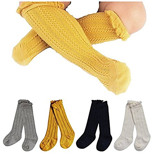 High Four (Toptim 4 Pairs Baby Toddlers Cable Knit Knee High Socks for Boy and Girls (0-12M, Sets of 4))