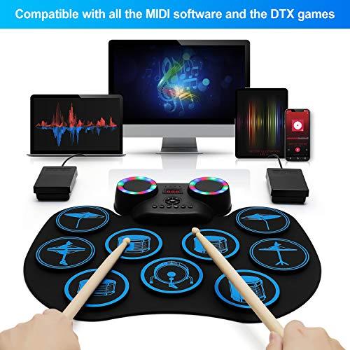 Uverbon - Tamburo elettronico multicolore con display digitale a LED, 9 tamponi in silicone Durm Pad integrato altoparlante stereo Bluetooth, MIDI, per bambini principianti