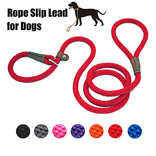lynxking Dog Leash Rope Slip Leads Braided Heavy Duty No Pull Training Rope Lead Leashes for Medium Large Dogs (5', Red)