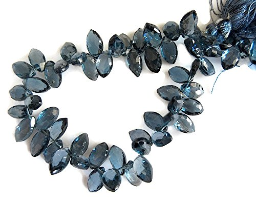(4 Inch Strand, 30 Pcs, London Blue Topaz Briolette Faceted Marquise Beads, 6x9mm Each, SKU-0340)