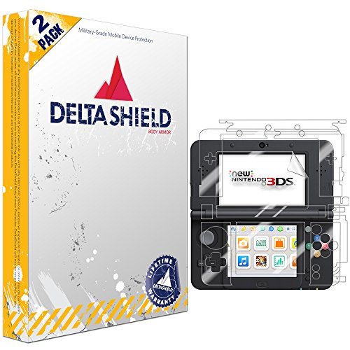New Nintendo 3DS Screen Protector (2015 Standard Version)[2-Pack], DeltaShield BodyArmor Full Coverage Back + Front Screen Protector for New Nintendo 3DS Military-Grade Clear HD Anti-Bubble Film