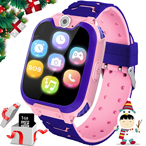 """Kids Games Smartwatches for Boys Girls - 1.54"""" HD Touch Screen Sports Smartwatch Phone with Call Camera Games Recorder Alarm Music Player for Children Days Gifts for Boys 4-7 Years Old (01 X6 Pink)"""