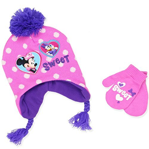 Minnie Mouse Girls Beanie Hat and Mittens Set (One Size, Pink)