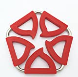 XUEXIN (Set of 4) peach-shaped pentagonal creative and amazing stainless steel silicone pot holder and amazing insulating mat folded heat-resistant coasters , red