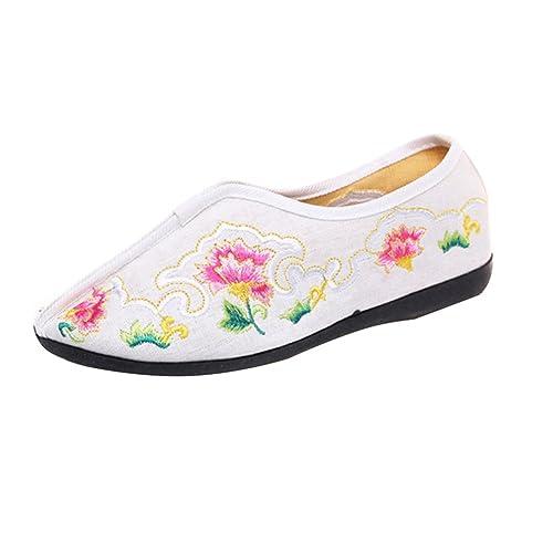 SK Studio Zapatillas Mocasín de Lona para Mujer en Estilo Chino YR36: Amazon.es: Zapatos y complementos