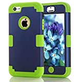 iPhone 5C Case Candy Color Series -Lantier Hybrid of Soft Silicone Interior and Hard PC Exterior Shield Slim Lightweight Shockproof Full Body Protective Case for iPhone 5C Deep Blue+Green