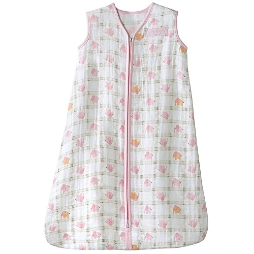 HALO 100% Cotton Muslin Sleepsack Wearable Blanket, Elephant Plaid, Medium ()