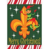 Merry Christmas Candy Cane Starry Green Fleur-de-lis Elf 30 x 44 Large House Flag