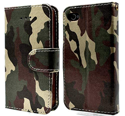 Price comparison product image iPhone 4 Case Camo Wallet Heavy Duty Protection Soft TPU Back Kickstand Case for iPhone 4 / 4s - Camouflage Green